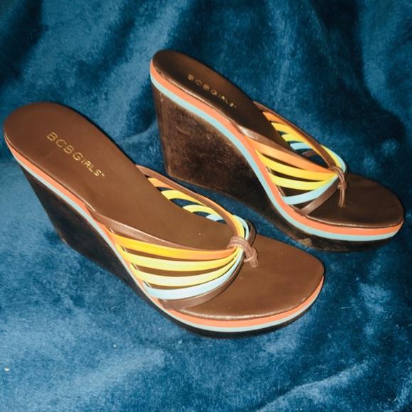 5bf2ababf9 BCBGirls Shoes | Bcbg Girls Strappy 70s Retro Look Wedge Sandals ...